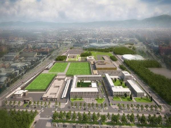 Khu phức hợp đi kèm với sân vận động.